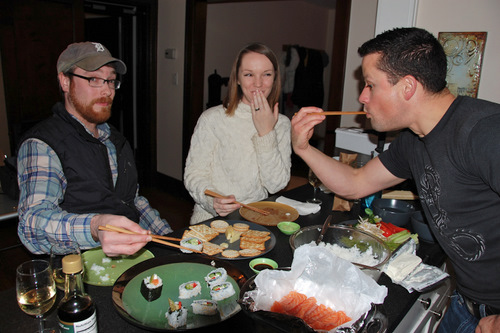 Enjoying Homemade Sushi!