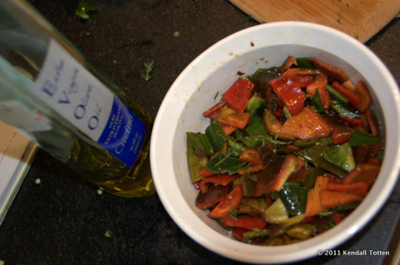 Red Peppers and Pablano Peppers in Balsamic