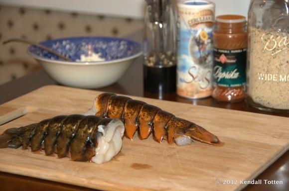 Lobster tail, butter, salt, pepper, paprika, bread crumbs