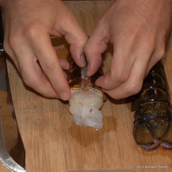 Split the lobster tail in half