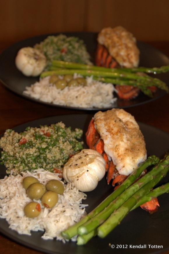 Lobster tail, Asparagus, rice, tabouli, roasted garlic