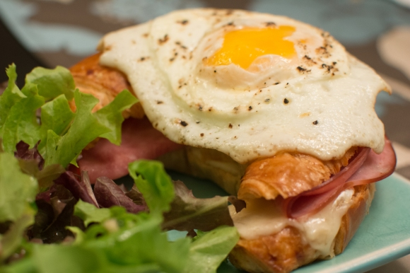 Ham and Brie Croissant with Fried Egg
